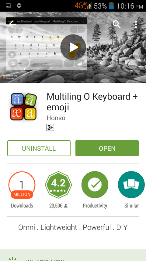 Android: Multiling O Keyboard installed