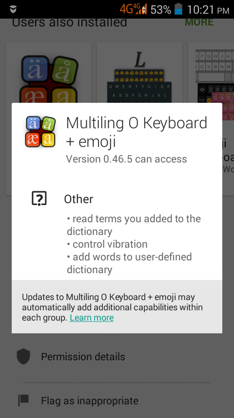Android: Multiling O Keyboard permissions