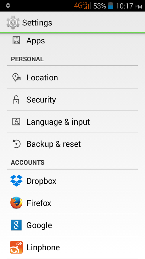 Android: Language and input settings