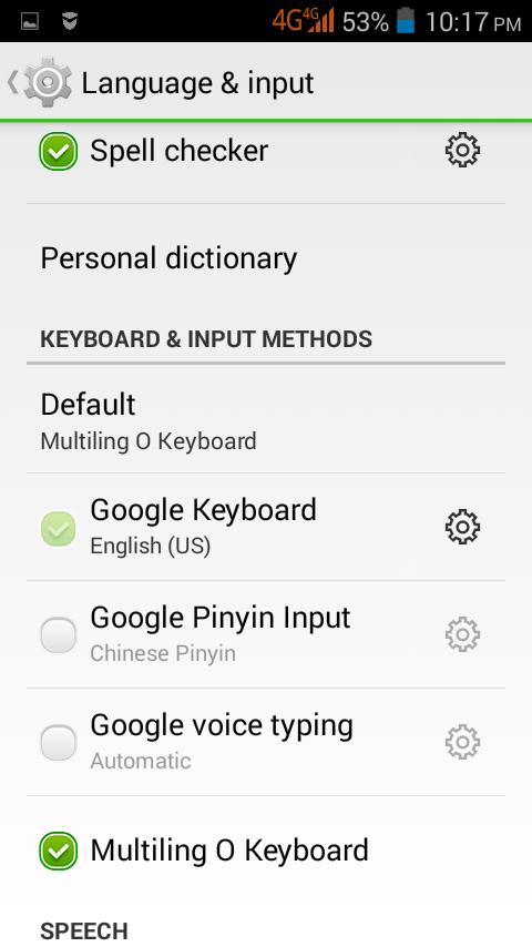 Android: Input Methods List
